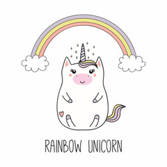 Foto auf Acrylglas Abbildungen Hand drawn vector illustration of a kawaii funny fat unicorn, with rainbow, cloud, stars, text. Isolated objects on white background. Line drawing. Design concept for children print.