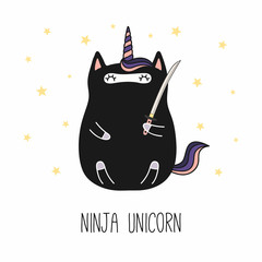 Hand drawn vector illustration of a kawaii funny fat ninja unicorn, with a katana sword, text. Isolated objects on white background. Line drawing. Design concept for children print.