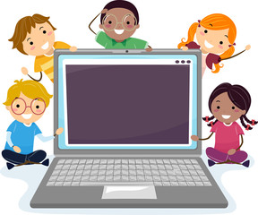 Stickman Kids Programmers Laptop Illustration