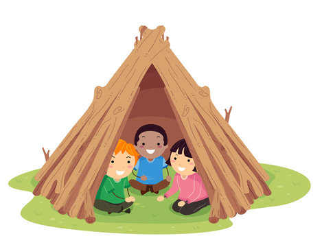 Stickman Kids Stick Hut Illustration