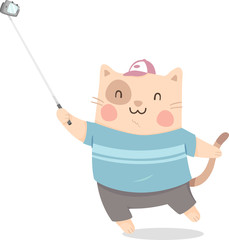 Cat Selfie Stick Illustration
