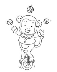 Coloring Circus Monkey Unicycle Illustration