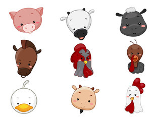 Farm Animals Head Illustration