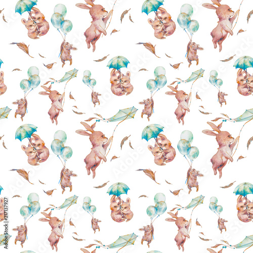 Watercolor Cartoon Texture With Funny Rabbits Baby Seamless Pattern Design Bunny Wallpaper Umbrella