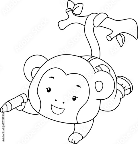 Coloring Page Monkey Color Branch Illustration\