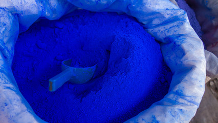 Sack of blue pigment in a Moroccan street market