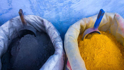 Sacks of pigments in a Moroccan street market