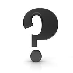 question mark 3d black interrogation point