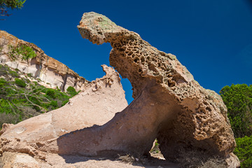 Strange and curious rock formations from erosion on the island of San Pietro in Sardinia, Italy