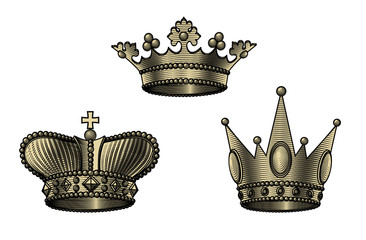 Set of crown icons in old style