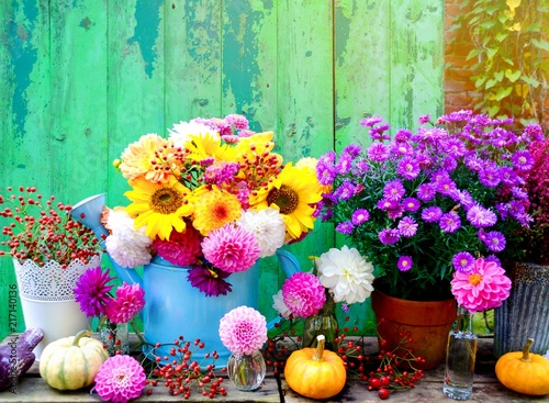 Bunte Herbstdekoration Herbst Blumenstrauss Stock Photo And