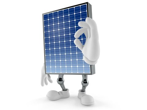 Photovoltaic panel character with ok gesture