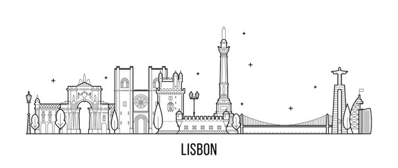 Lisbon skyline, Portugal vector big city buildings