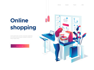 Sale, consumerism and people concept. Young woman is unpacking bags and shopping online using laptop. Landing page template. 3d vector isometric illustration.