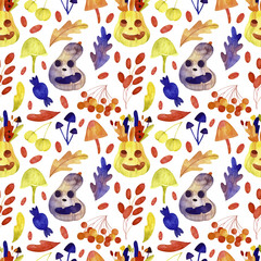 Watercolor halloween seamless pattern. Cute halloween set. Perfect for you postcard design, wallpaper, print, invitations, patterns, travel, poster, packaging etc.
