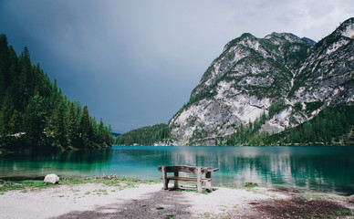 Beautiful view of Lago di Braies or Pragser wildsee, Trentino Alto Adidge, Dolomites mountains, Italy.
