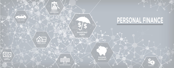 Personal Finance Web Header Banner with Rainy Day fund, cash reserves, savings account, hsa, and mortgage loan icon set