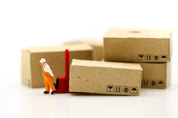 Miniature people: Worker and box with businessman shipping, rent container, business concept.