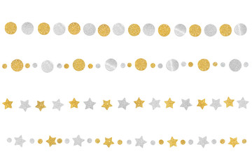 Gold and silver glitter bunting paper cut on white background - isolated