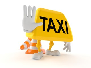 Taxi character with stop gesture