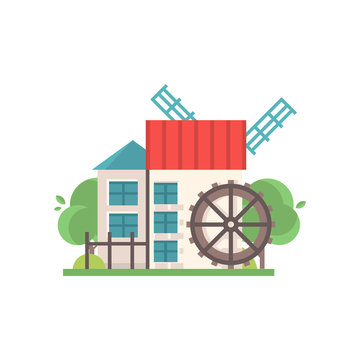 Traditional rural water mill, ecological agricultural manufacturing vector Illustrations on a white background