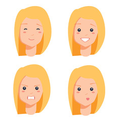 Four female faces colorful vector illustration of blonde portraits isolated on white background, red lips, bright teeth
