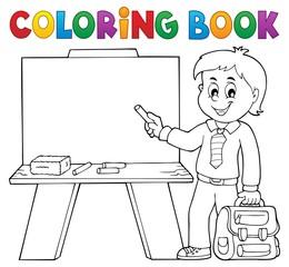 Coloring book happy pupil boy theme 4