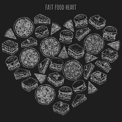 Vector illustrations on the fast food theme; set of different kinds of burgers, pizzas and sandwiches. Pictures are depicted as white sketches on a dark background grouped in the heart.
