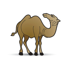 camel looking back side on smooth shadow vector drawing