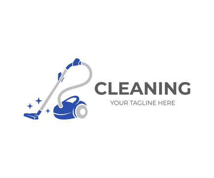 Cleaning, hands holding a vacuum cleaner with brilliance of purity, logo design. Steam mop and cleaning service, vector design and illustration