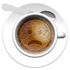 Tazza di caffè con disegnata emoticon.