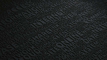 Dark text background with modern Internet technology terms and words, 3d rendering dark scheme