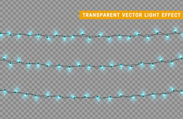 Garlands color blue isolated vector, Christmas decorations lights effects. Glowing lights for Xmas Holiday.
