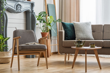 Real photo of an armchair with a book standing next to a small table with pot and sofa with cushions in cozy living room interior with plants