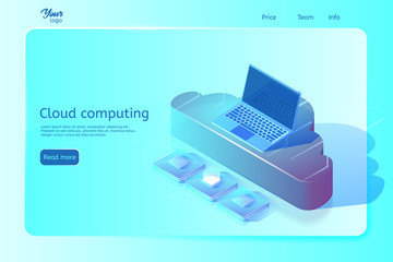 Cloud computing web page template. Isometric vector illustration. Abstract design concept. Web page banner. Image depicting laptop on cloud and central processing units.