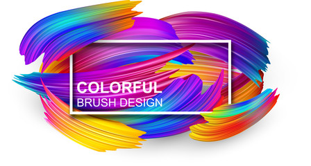 White background with colorful abstract brush stroke.