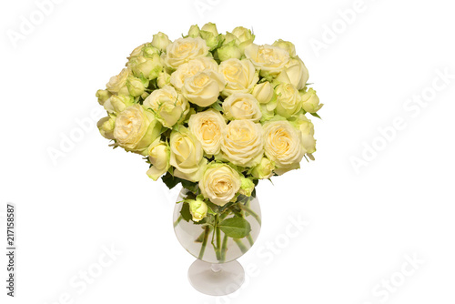 White roses bouquet in a vase isolated on white background. Flat lay on umbrella top view, desk top view, tree top view, couch top view, table top view, plate top view, sculpture top view, rug top view, bedroom top view, spoon top view, apple top view, box top view, plant top view, rose top view, stool top view,
