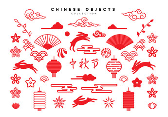 Traditional Chinese design elements for holiday, Mid Autumn festival. Collection of objects in red colors, isolated on white background.