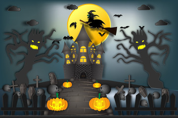 Witch riding broom flying over haunted castle in the dark night and full moon background as happy Halloween day and party concept. vector illustration.