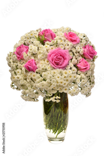 Flower arrangement in bouquet of yarrow and rose in a vase isolated on umbrella top view, desk top view, tree top view, couch top view, table top view, plate top view, sculpture top view, rug top view, bedroom top view, spoon top view, apple top view, box top view, plant top view, rose top view, stool top view,