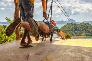 Philippines, El Nido, 26.04.18: Descent from the mountain by cable from one island to another. Extreme attraction.