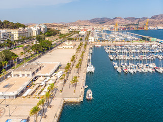 Cartagena city port harbor drone arial panoramic view, boats and main square Cartagena, Murcia, Spain, Summer 2018