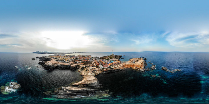 VR 360 degree panorama of cabo de palos, cartagena, murcia, spain, summer 2018 from drone