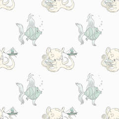 Fish and octopus seamless pattern