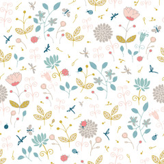 Ladybugs, butterflies, dragonflies on a flower meadow. Seamless pattern with stylized nature.