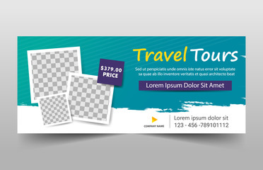 Green Square Travel tour corporate business banner template, horizontal advertising business banner layout template set, Cover header background for website design
