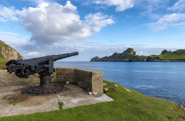 A gun emplacement overlooking Village Bay on the islands of St. Kilda