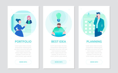 Business and finance - set of flat design style banners