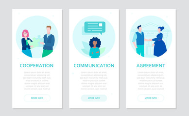 Partnership - set of flat design style banners