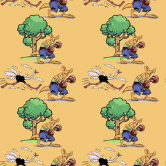 Running ostrich and boxing kangaroo seamless pattern